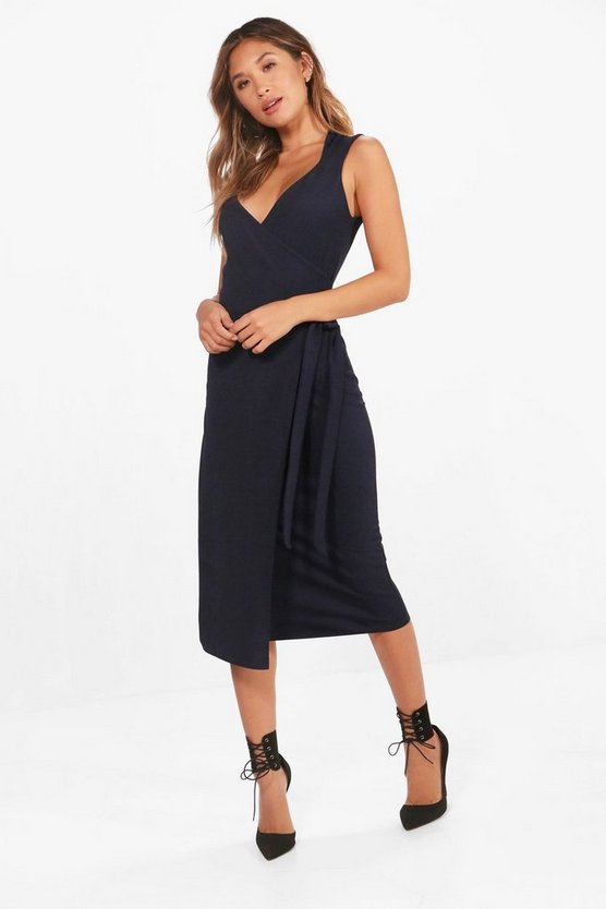 Felicity Neck Detail Tie Side Midi Dress