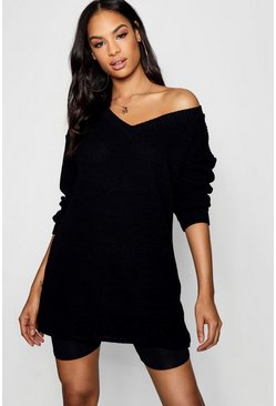 Womens Rib Knit V Neck Jumper Dress