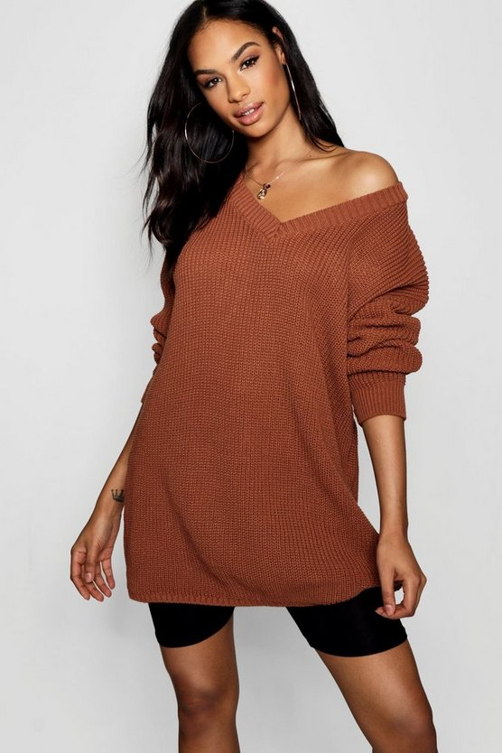 Rib Knit V Neck Jumper Dress