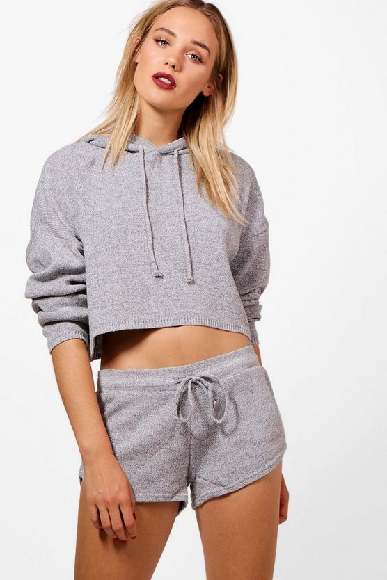 Leanne Cropped Hooded Knitted Lounge Set