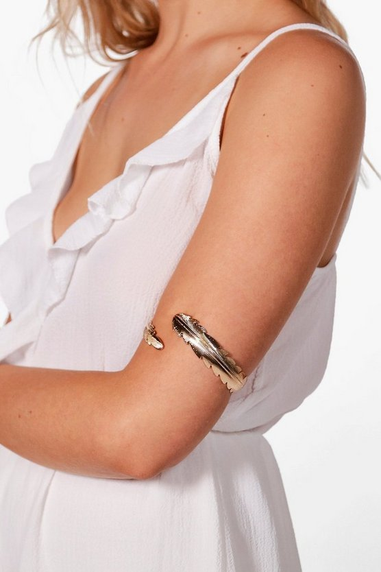 Jade Feather Leaf Arm Cuff