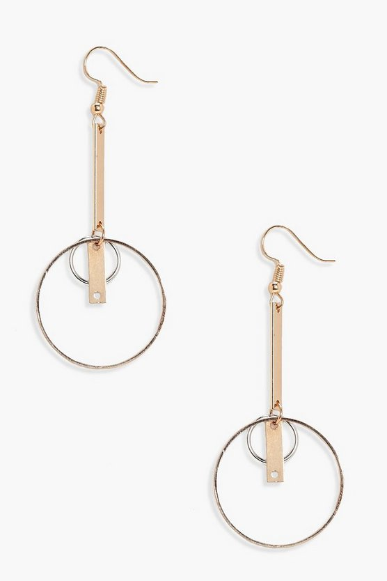 Womens Gold Lois Layered Hoop and Bar Earrings