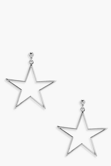 Womens Silver Star Metal Ball Stud Earrings