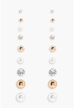 Womens Gold Pearl and Diamante Mixed Stud- 9pack