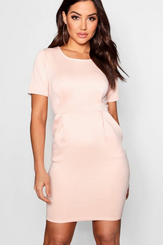 Womens Soft pink Tailored Pleated Dress