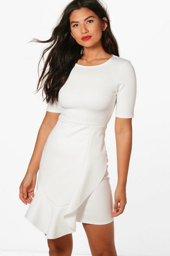 Ruffle Hem Tailored Dress