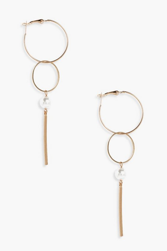 Laura Pearl Detail Hoop & Bar Earrings