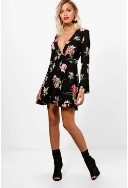 Womens Black Floral Wide Sleeve Frill Hem Dress