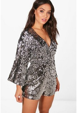 Sequin Stripe Kimono Sleeve Wrap Playsuit, Black