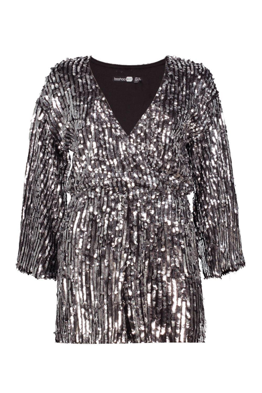 Playsuit Sequin Kimono black Wrap Sleeve Stripe raCKqaI