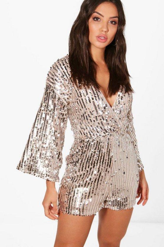 Sequin Stripe Kimono Sleeve Wrap Playsuit