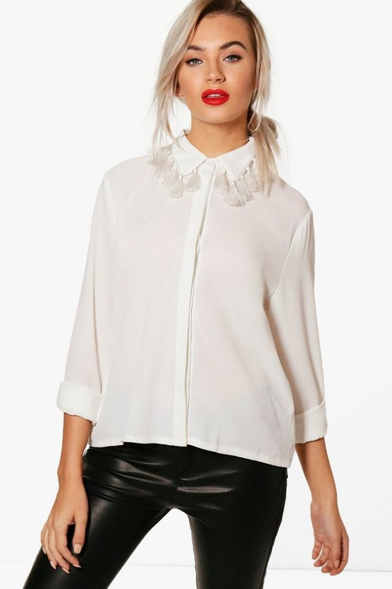 Womens Ivory Abbie Tassle Collar Shirt