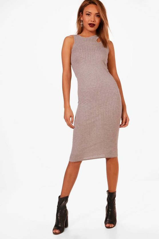 Ribbed Cut Out Detail Midi Dress