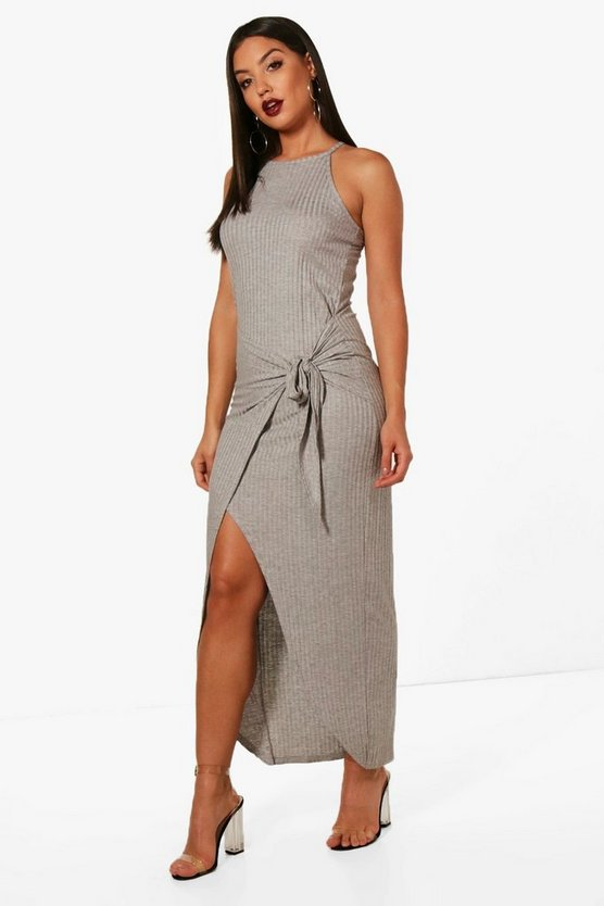 Becky Ribbed Wrap Front Maxi Dress