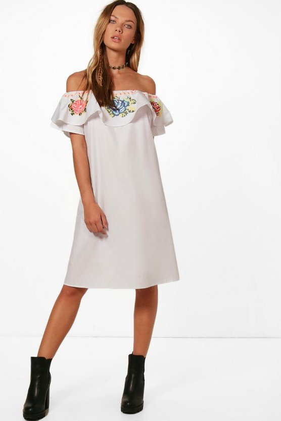 Joanna Embroidered Off Shoulder Shift Dress