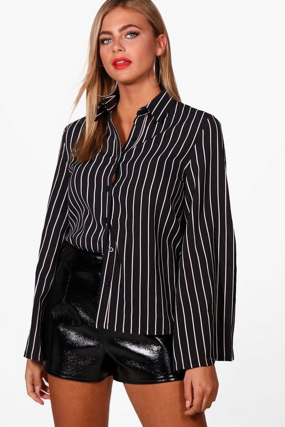 Womens Black Stripe Woven Wide Sleeve Shirt