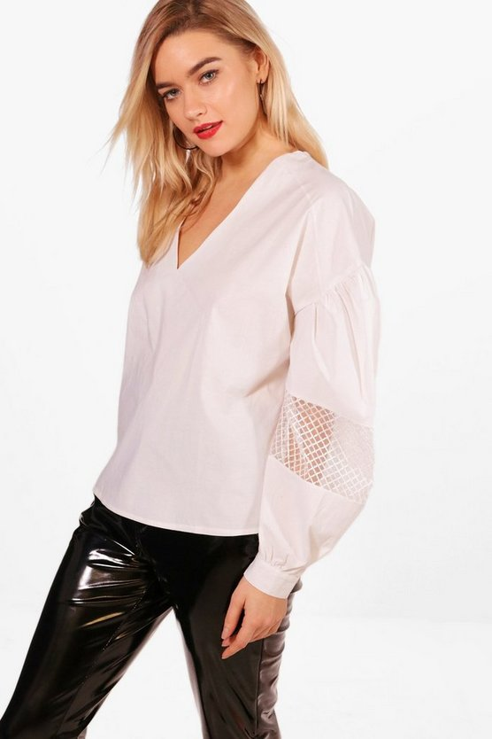 Ruched Sleeve Lace Panel Top