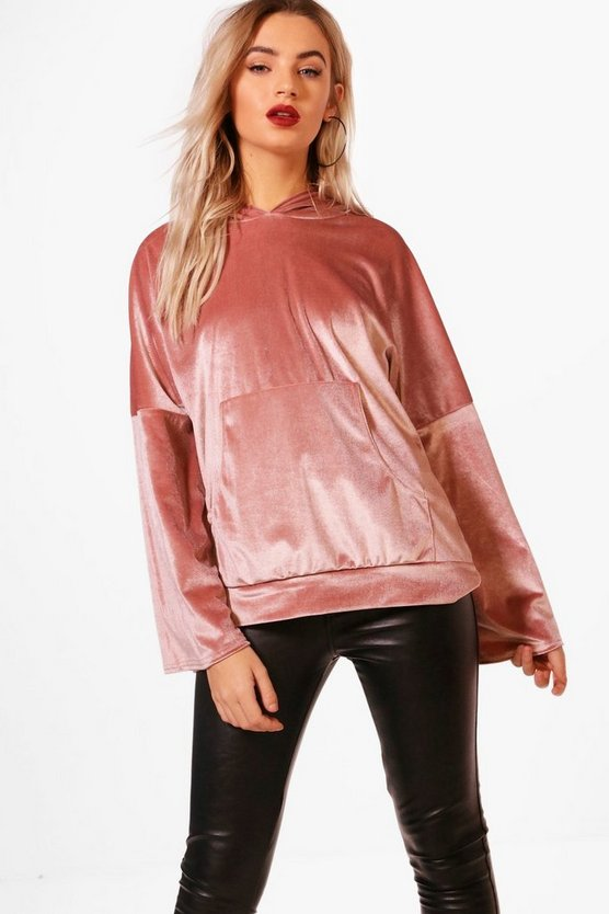 Velvet Oversized Wide Sleeve Hoody