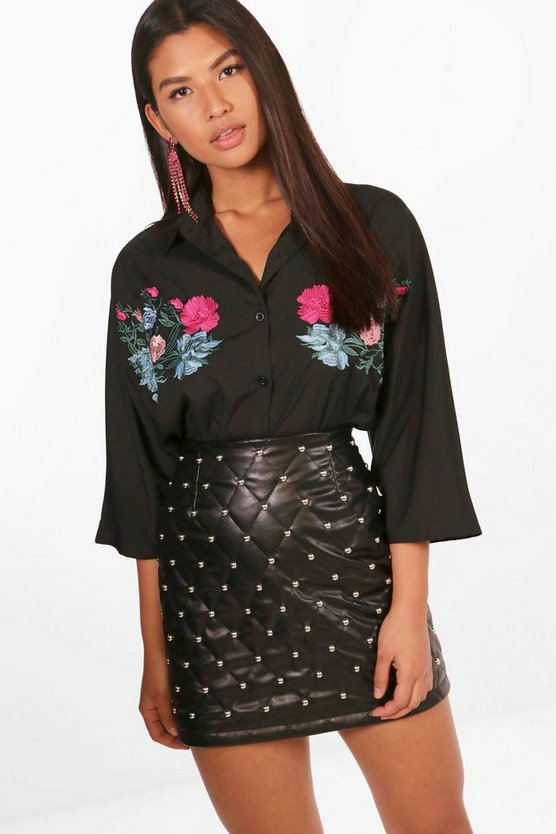 Bryony Fold Embroidered 3/4 Sleeve Shirt
