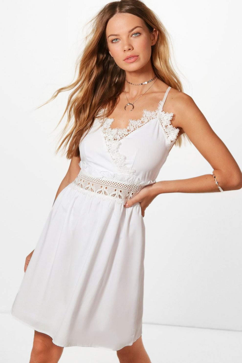 bdeae4bf90b0 Lola Crochet Lace Skater Dress | Boohoo
