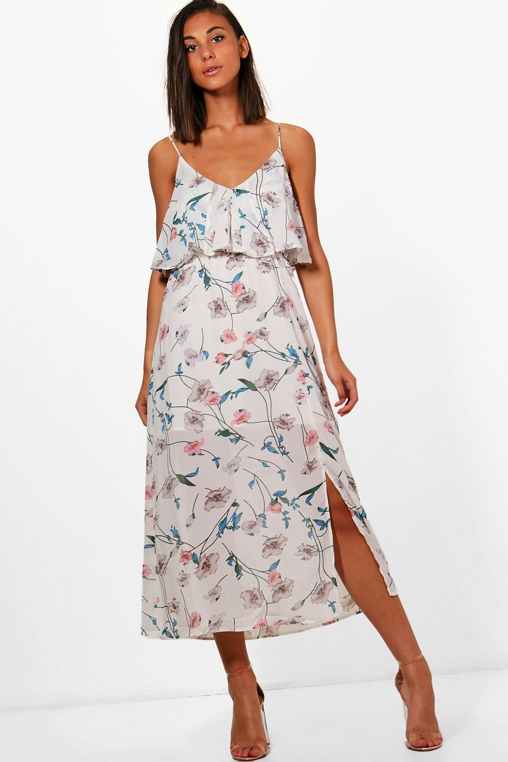 b5add5c4c4d3 Womens White Laura Floral Double Layer Maxi Dress