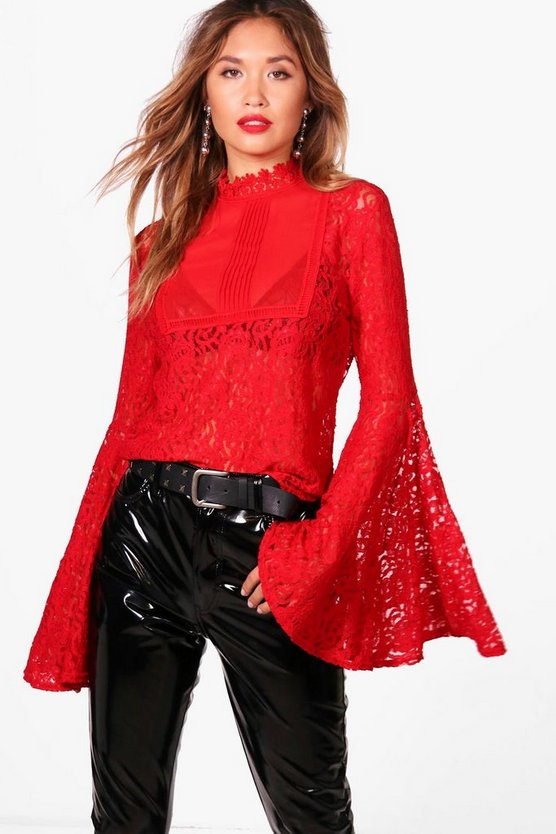 Extreme Flare Sleeve Lace High Neck Blouse