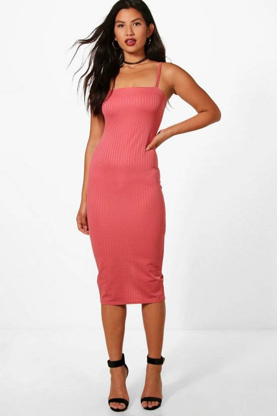Tansy Textured Wasffle Strappy Midi Dress