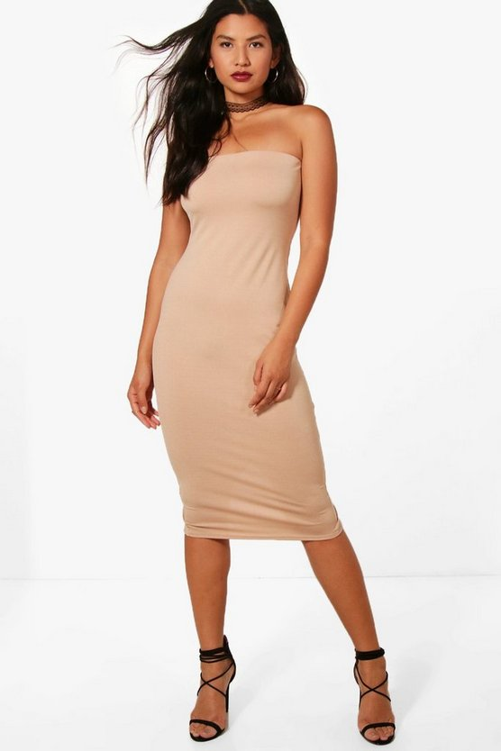 Ruby Textured Slinky Bandeau midi Dress