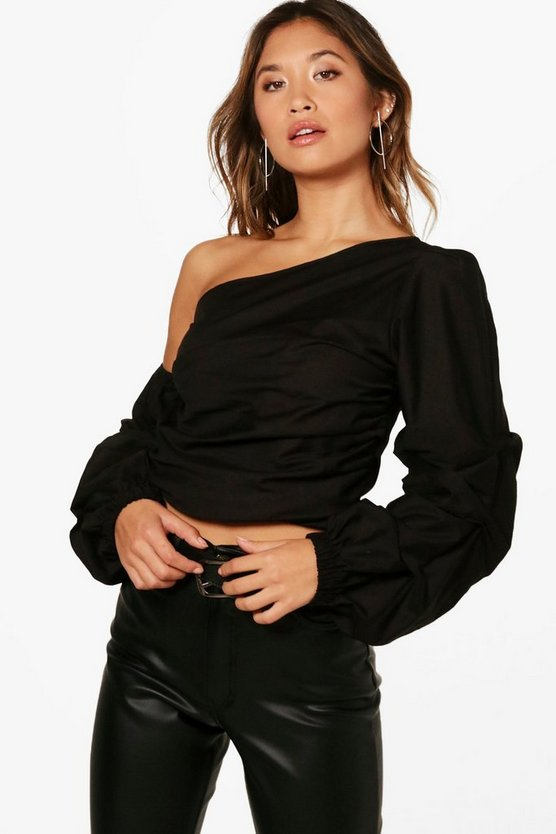 One Shoulder Ruched Sleeve Top