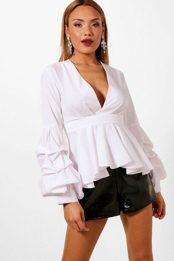 Plunge Ruffle Tiered Blouse