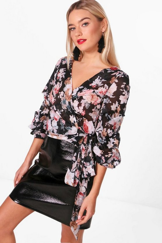 Emma Floral Woven Ruched Sleeve Blouse