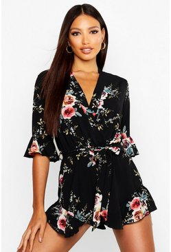 Womens Black Wrap Floral Ruffle Hem Playsuit