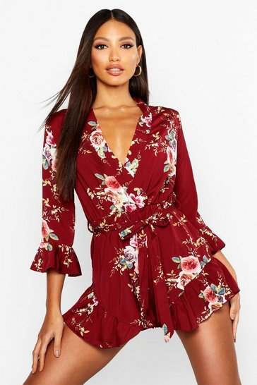 Womens Burgundy Wrap Floral Ruffle Hem Playsuit