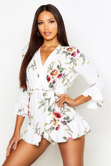 Womens Ivory Wrap Floral Ruffle Hem Playsuit