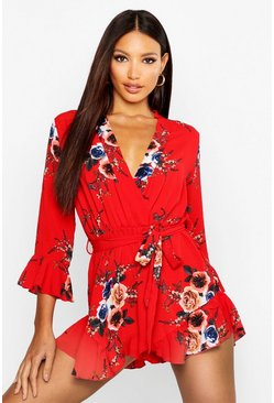 Womens Red Wrap Floral Ruffle Hem Romper