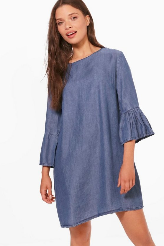 Daphne Denim Flute Sleeeve Dress