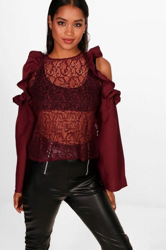 Ruffle Lace Cold Shoulder Top
