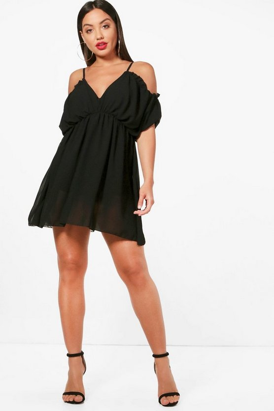 Cold Shoulder Chiffon Dress