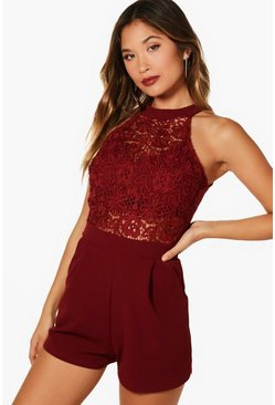 Womens Berry Boutique Crochet Detail High Neck Playsuit