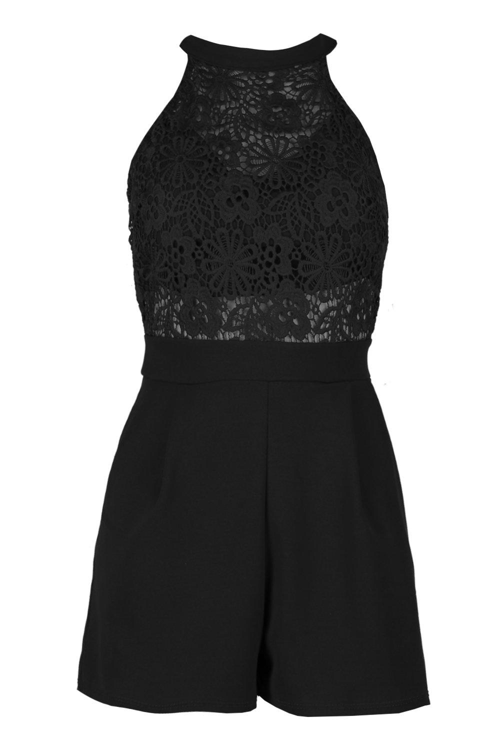 Neck Detail Boutique black High Playsuit Crochet tYaHqaR