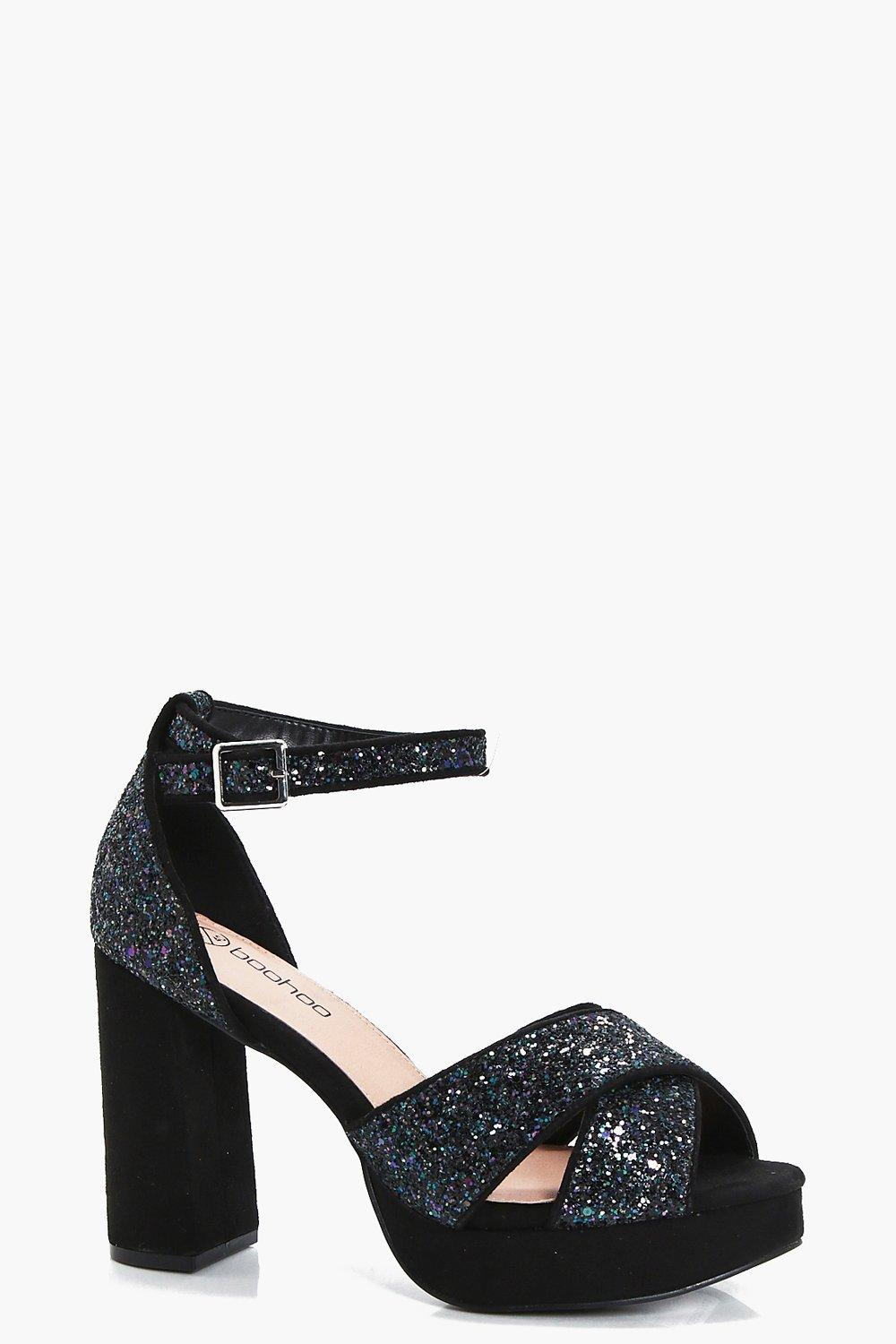 limited guantity wholesale sales for whole family Natalia Wide Fit Glitter Platform Heels | Boohoo