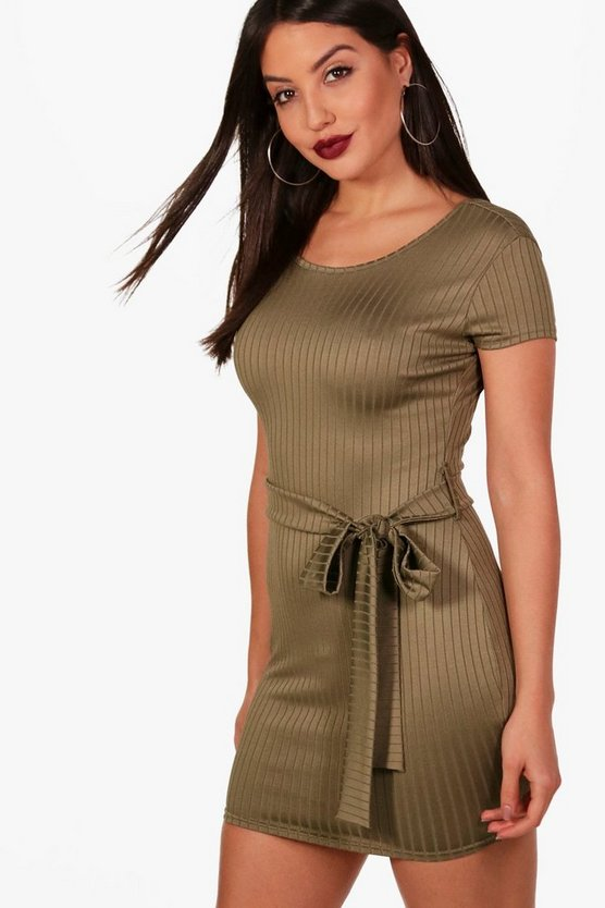 Cap Sleeve Tie Waist Bodycon Dress