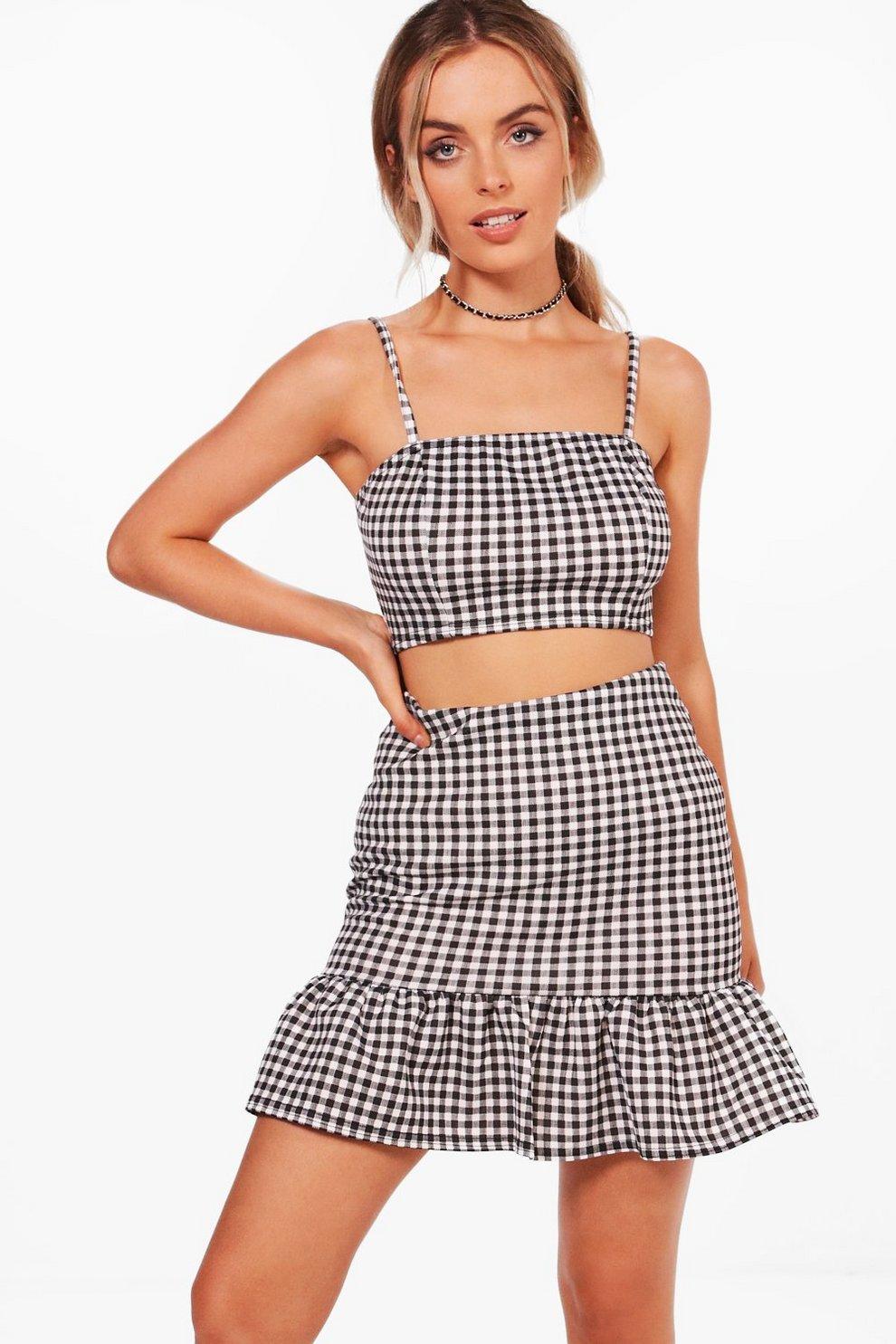 997b40975c479 Mila Gingham Frill Skirt & Bralet Co-ord Set | Boohoo