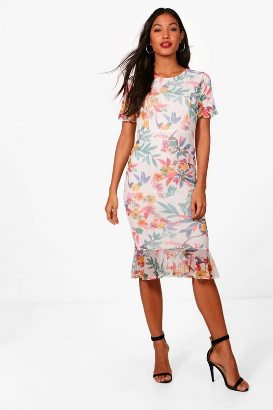 Print Mesh Frill Sleeve  Midi Dress