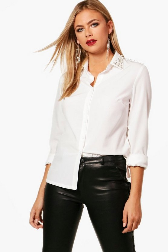 Milena Pearl Embellished Collar Shirt