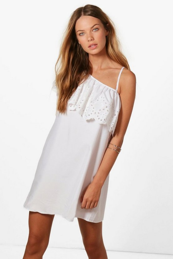 One Shoulder Embroidered Shift Dress