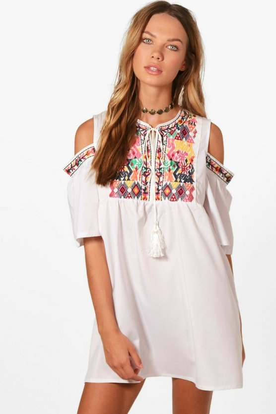 Gemma Embroidered Cold Shoulder Shift Dress