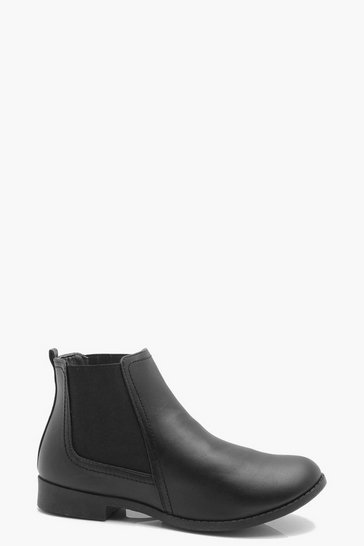 Womens Black Pull on Chelsea Boots