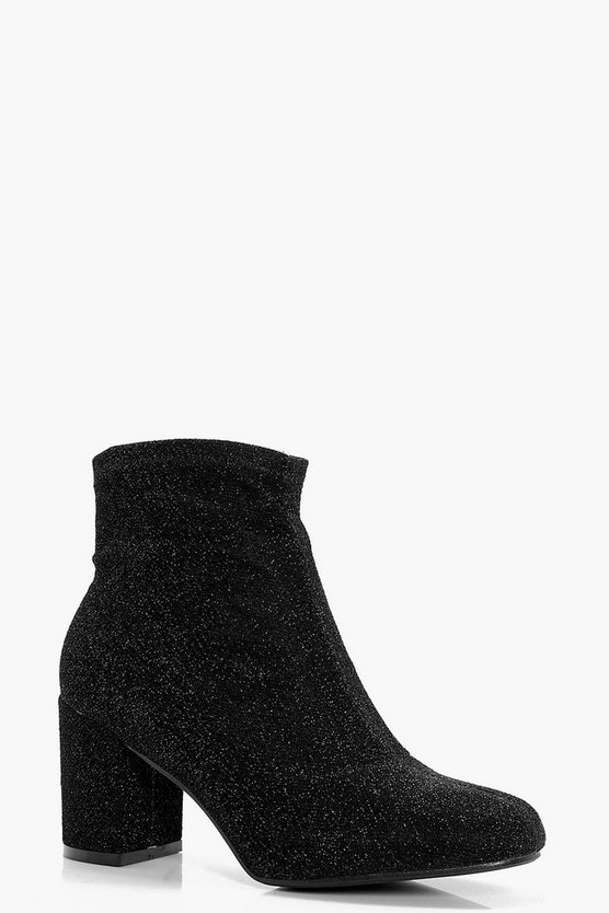 Amelia Shimmer Block Heel Ankle Sock Boots