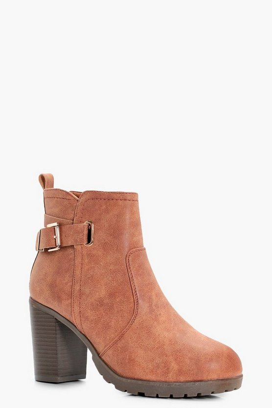 Buckle Trim Cleated Heeled Chelsea Boots